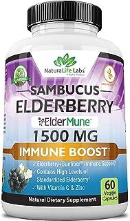 Sambucus Elderberry 1,500 mg with Vitamin C & Zinc - ElderMune Super Concentrated 65:1 Sambucus Extract Imm...