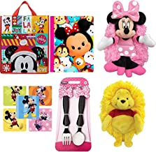 Tote Away Pals Minnie Mouse Soft Hideaway Plush Disney Cuddle Buddy Bundled with Winnie The Pooh Smile Friends + Disney Reusable Christmas Bag + Minnie Fork & Spoon Pink Pack 5 Items