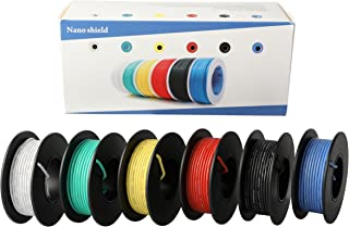 Nano Shield NS085 Hook-up Stranded Wire 22 AWG with UL3132, 6 Colors (23ft Each) Flexible 22 Gauge Silicone Wire Rubber Insulated Electrical Wire, 300V Tinned Copper Electric Cable for DIY