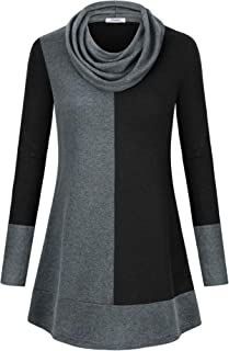 Women's Hoodie Sweatshirt Long Sleeve Cowl Neck Pullover Color Block Thin Tunic Top