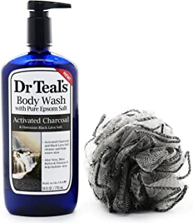 Dr Teals Activated Charcoal Body Wash w/Pure Epsom Salt (24oz) - Bundle w/a Purifying Mesh Exfoliator with Medicinal Bamboo Charcoal