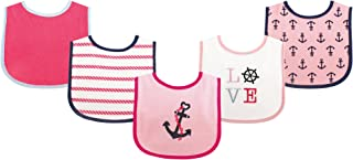 Luvable Friends Fun Prints Drooler Bibs, Girl Nautical, 5 Count