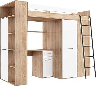 Lit Mezzanine avec Bureau, Armoire et bibliothèque - VERANA Droit -