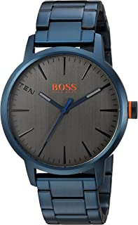 HUGO BOSS Men's Copenhagen Quartz Watch with Stainless-Steel-Plated Strap, Blue, 20 (Model: 1550059)
