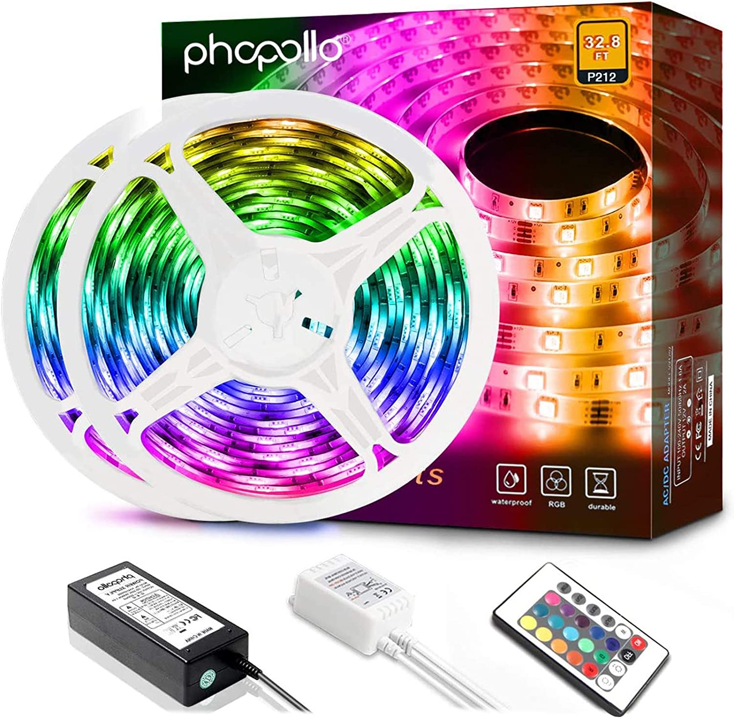 2021 autumn and winter new Phopollo Led Strip Lights 32.8ft Direct stock discount LEDs Flexible 600 L Waterproof
