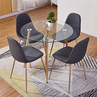 GOLDFAN Tables de Salle à Manger et 4 Chaise Table en Verre et 4 Gris Chaise en Tissu pour Cuisine Salon Bureau