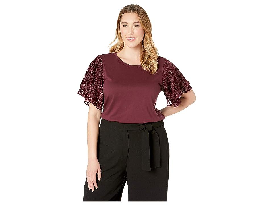 MICHAEL Michael Kors Plus Size Velvet Flutter Sleeve Tee (Cordovan) Women