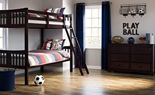 Storkcraft Caribou Solid Hardwood Twin Bunk Bed, Espresso Twin Bunk Beds for Kids with Ladder and Safety Rail