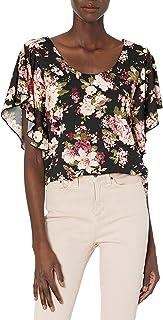 Star Vixen Women's Angel Sleeve Top, Floral Print, Large