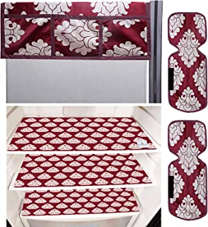 Kuber Industries Flower Design 3 Pieces PVC Fridge Mats,2 Piece Handle Cover and 1 Piece Fridge Top Cover (Maroon) CTKTC34...