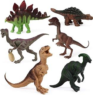 6pcs Dinosaur Figures for Boys Realistic Dinosaur Toys Animal Figurines for Kids Dinosaur Pack Cake Toppers Decoration