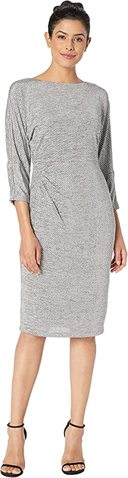 Armored Jersey Dress Bateau Neckline w/ 3/4 Length Dolman Sleeves