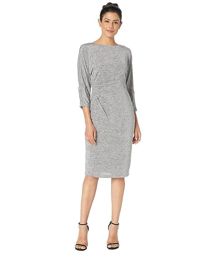 Adrianna Papell Armored Jersey Dress Bateau Neckline w/ 3/4 Length Dolman Sleeves (Silver Heather) Women