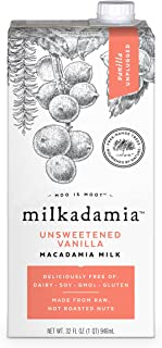Milkadamia Unsweetened Vanilla, Vegan and Keto-Friendly Macadamia Milk, 32 Ounce (Pack of 6)