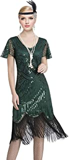 YENMILL 1920s Art Deco Fringed Sequin Beaded 20s Flapper Gatsby Costume Dress with Sleeves