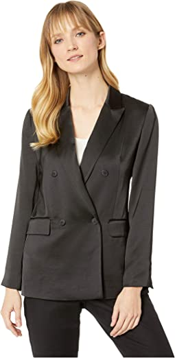 Soft Satin Double-Breasted Blazer