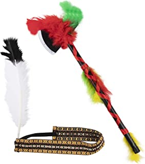 Native American Feather Elastic Headband with Hatchet - Tribal Costume Accessory, Unisex White