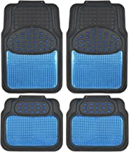 BDK Metallic Rubber Floor Mats for Car SUV & Truck - Semi Trimmable, 2 Tone Color Heavy Duty Protection (Blue/Black)