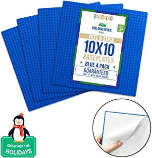Peel-and-Stick Baseplates - 10 Inch x 10 Inch Baseplate - Blue 4 Pack Compatible with All Major Brands