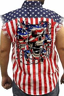 SHORE TRENDZ Men's USA Flag Sleeveless Denim Shirt Patriotic Skulls with Chains Biker