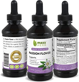 Maxx Herb Passion Flower Liquid Extract (4 Oz Bottle with Dropper) Max Strength, Absorbs Better Than Passionflower Capsule...