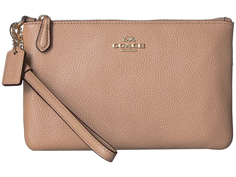 COACH Polished Pebble Small Wristlet (Beechwood/Light Gold) Wristlet Handbags