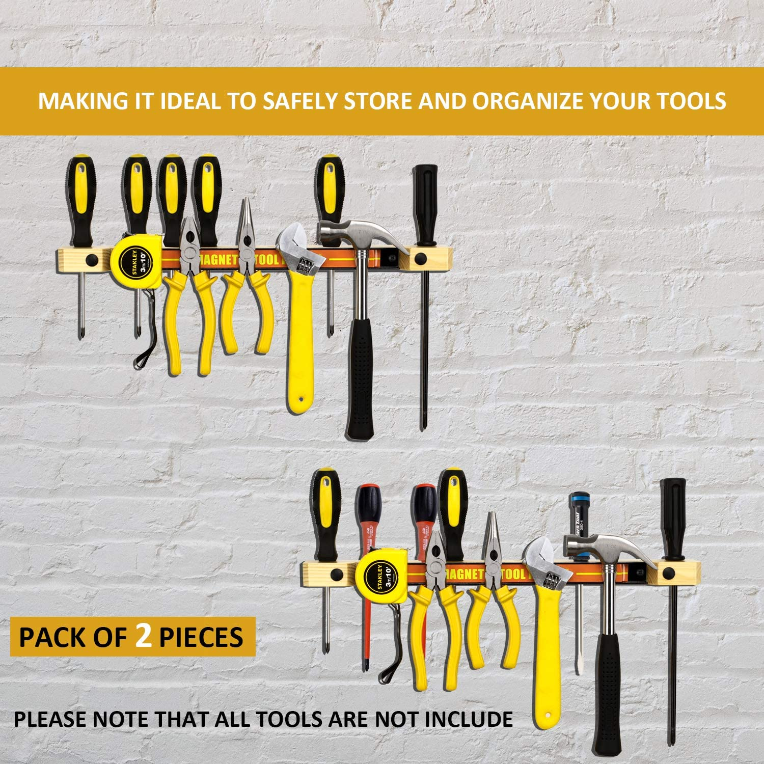 Wall Mounted Tool Storage with 12 Magnetic Tool Holder Tools not Include simesove Metal Magnet Tool Organizer Rack//Strip,Wooden Tool Holders Organizers for Screwdriver