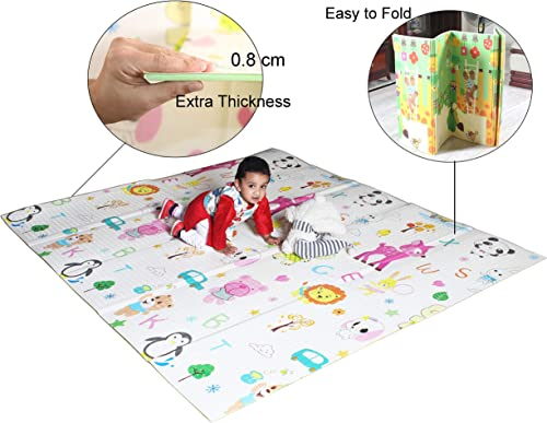 Vic Kid® Baby Play Mat/Foldable Crawling Mat/Large Size/Thick Foam/Double Sides Multi-Purpose Water Proof. (6.45 X 5....