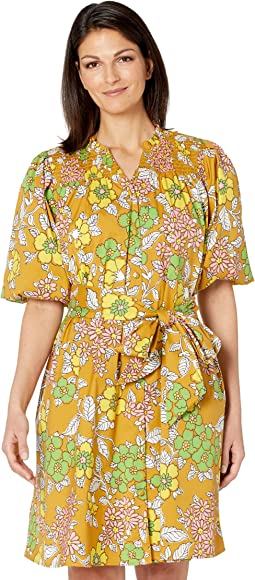 Printed Tie Dress Cover-Up