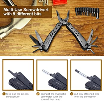 Rose Kuli Multitool Knife Pliers 12 in 1 Portable Pocket Multifunctional Multi Tools with Folding Saw Wire Cutter Min...