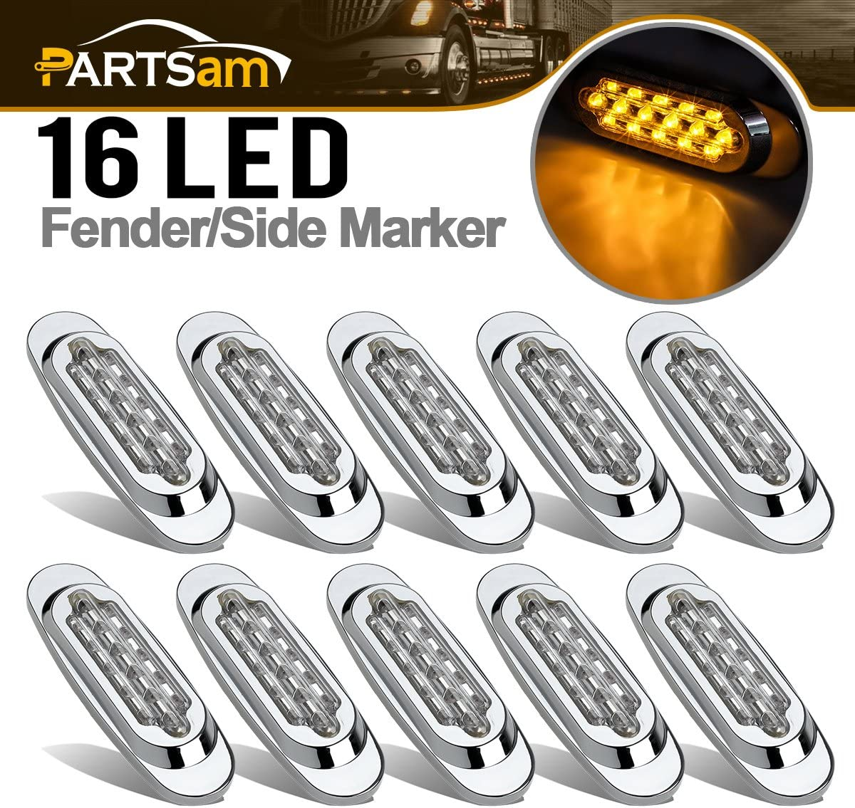 Partsam 10Pcs 6.5 Inch Clear Lens Max 60% OFF Led Amber Marker Sales of SALE items from new works Light Oval 16