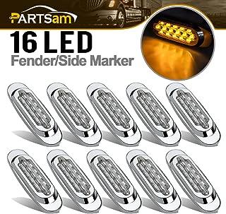 Partsam 10Pcs 6.5 Inch Clear Lens Amber Led Oval Marker Light 16 Diodes Sealed Flush Mount Led Side Marker Lights Turn Signal Lights Cab Panel Lights Replacement for Kenworth/Peterbilt