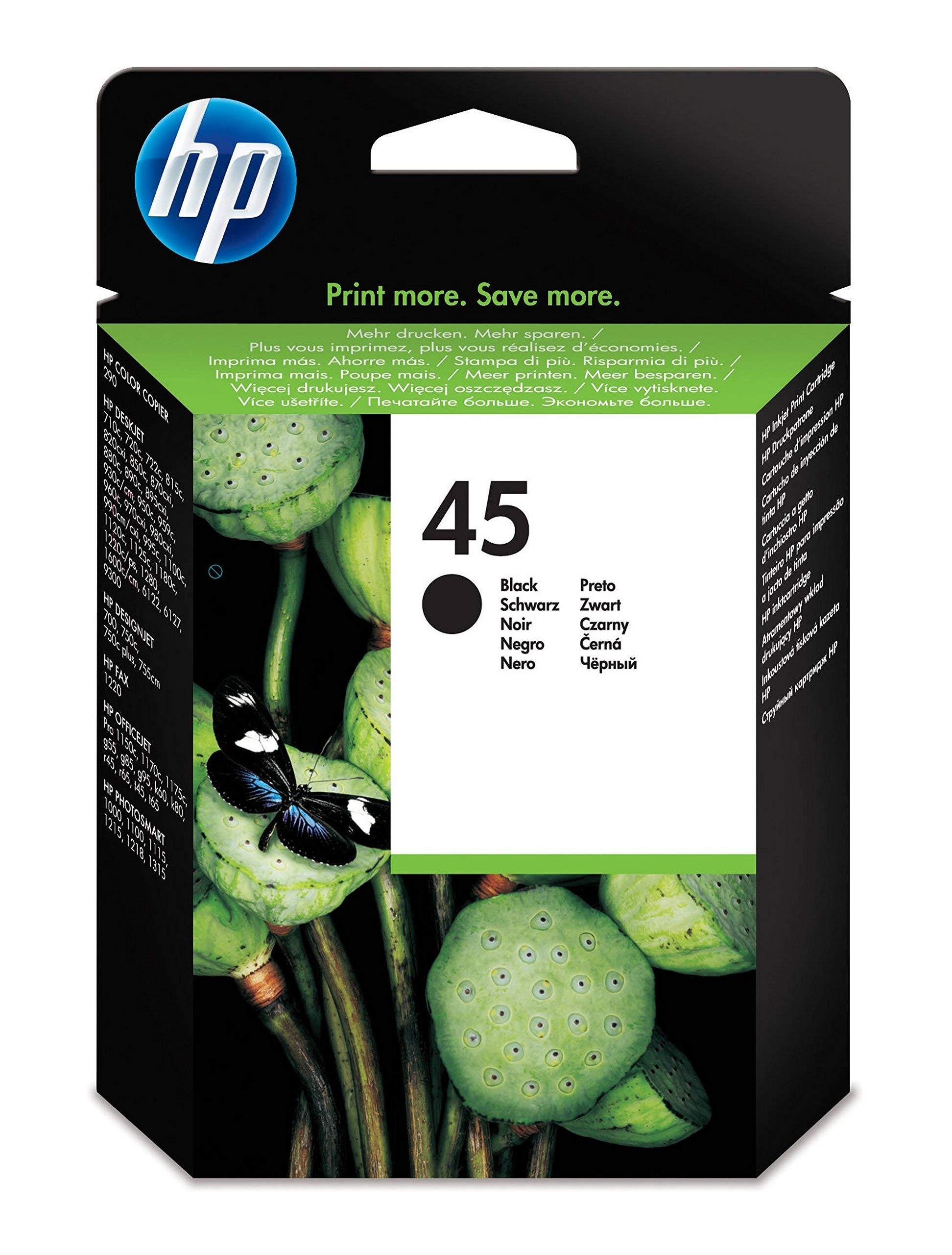 HP 45 51645AE,Cartucho de Tinta Original, Negro, compatible con impresoras de inyección de tinta HP Deskjet 710c, 720c, 815c, 850c, 930, 980cXi, 1180c, 1215 ...