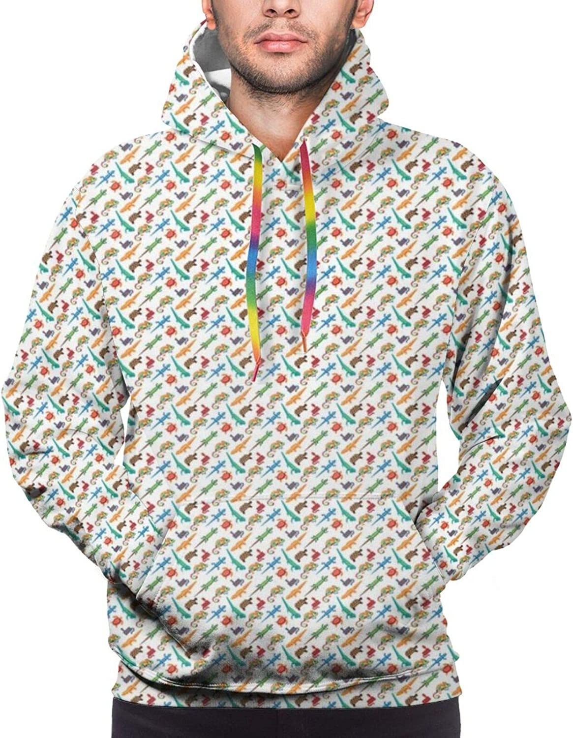 Men's Hoodies Sweatshirts,Abstract Animal Design Cartoon Style Cute Creatures Funny Faces Friendly