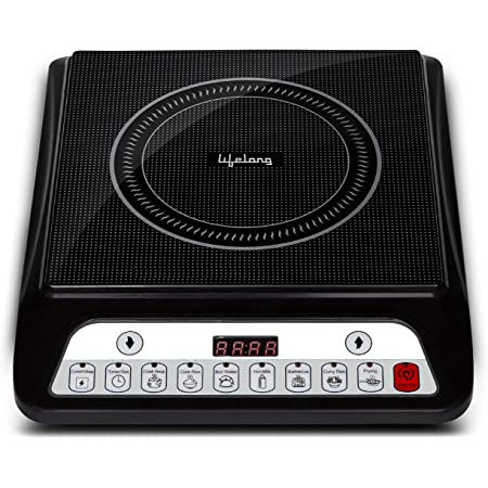 Lifelong Inferno LLIC30 2000 Watt Induction Cooktop for Home with 7 Preset Indian Menu Option and Auto-Shut Off   Easy Cooking, 1 Year Warranty (Grey)