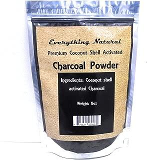 Premium Coconut Activated Charcoal Powder, Large 8 Oz. Food Grade, Natural Teeth Whitener, Rejuvenates Skin, Detoxifier