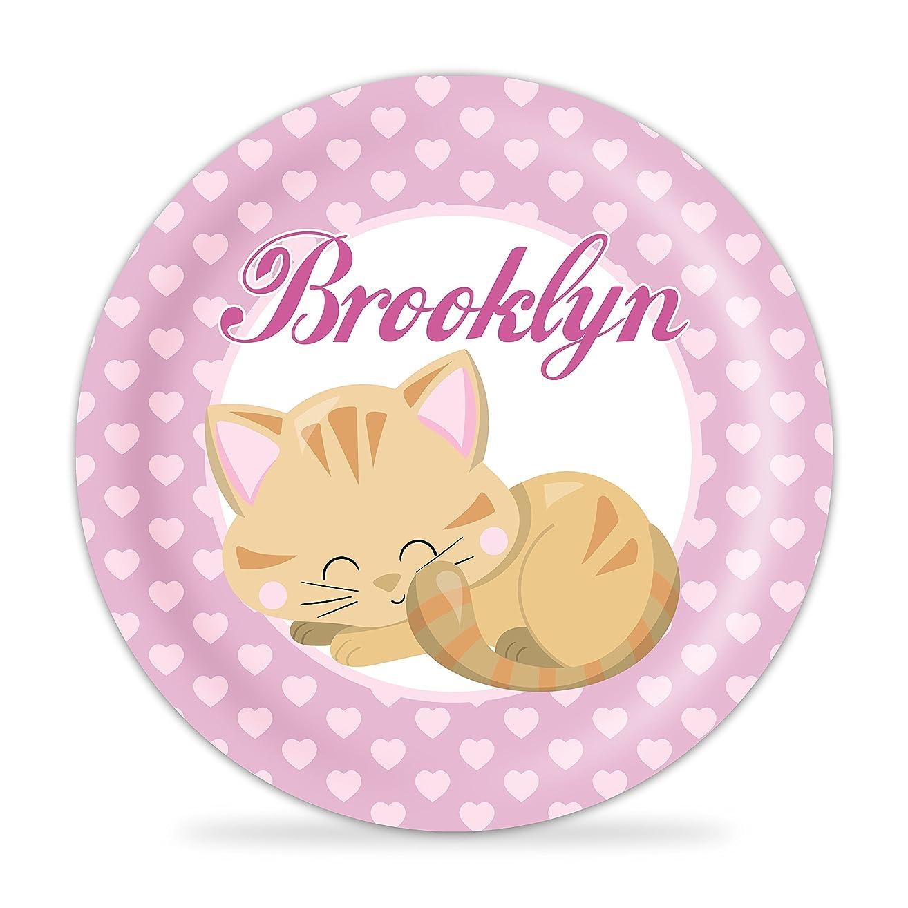 Kitten Plate - Pink Heart, Cat Melamine Personalized Plate
