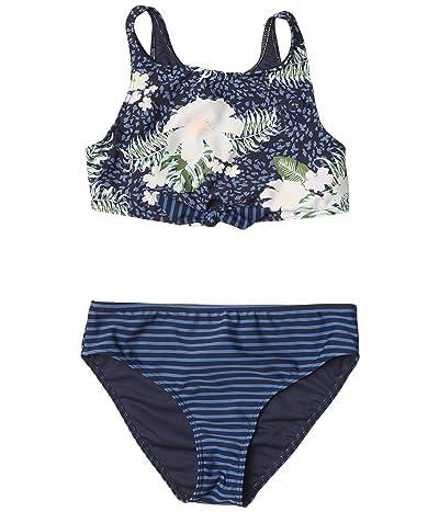 Roxy Kids Heaven Wave Crop Top Swimsuit Set (Big Kids) (Mood Indigo Animalia) Girl