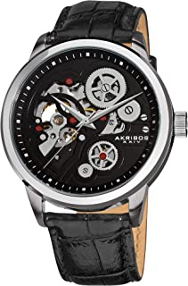 Men's Skeleton Watch - Mechanical Automatic Dial On Alligator Embossed Genuine Leather Strap - AK538