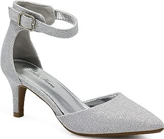 Enzo Romeo Jupiter37 Women's Pointy Toe Mid Heel Sexy Ankle Strap Sandals Ballerina Dress Pump Ballet Wedding Harlow Pump Shoes