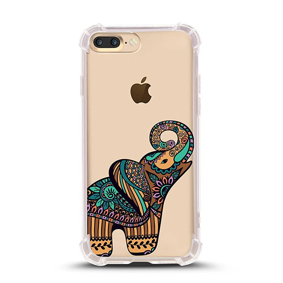 iPhone 8 PLUS case, with Shock Absorbent (5.5 inch screen), colorful elephant Design (Compatible with iPhone 8 PLUS ONLY, not iPhone 8)