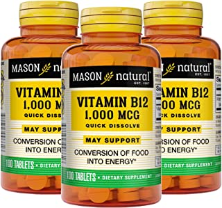 Mason Natural, Vitamin B-12, 1000 Mcg Sublingual Cyanocobalamin Tablets, 100-Count Bottles (Pack of 3), Dietary Supplement...