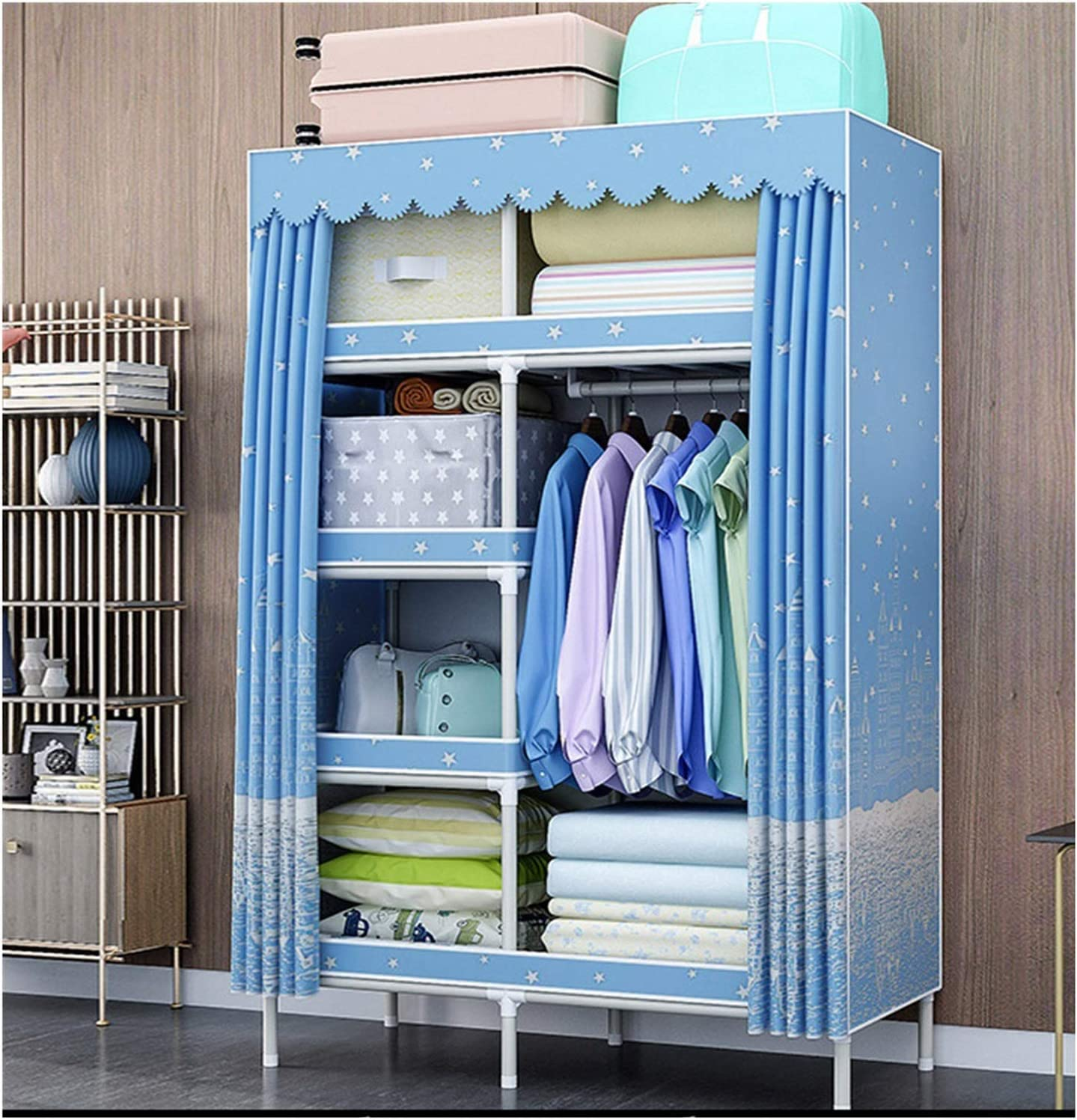Color : A, Size : 100/×45/×168cm Armoire Wardrobe Closet Space Saving Closet Organizer Home Solid Color Steel Pipe Thickened Oxford Cloth