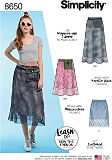 Simplicity Sewing Pattern D0962 / 8650 - Misses' Pull-On Skirt and Belt Bag, A (6-8-10-12-14-16-18)