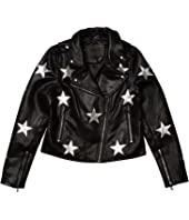 Vegan Leather Moto Jacket with Stars (Big Kids)