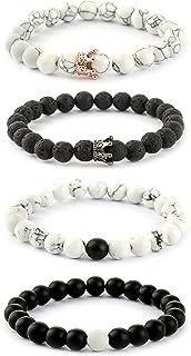 4PCS 8MM Couples Bracelet for Men Women Beaded Bracelets Distance Crown Queen Charms Adjustable