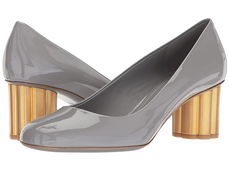 Salvatore Ferragamo Patent Leather Mid-Heel Pump (Fossil Grey Patent) High Heels