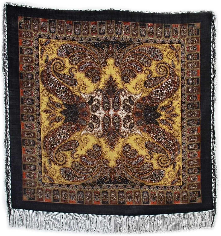 Pavlovo Posad Russian Shawl Pashmina Scarf Wrap Black & Brown №188 Wool 49x49''