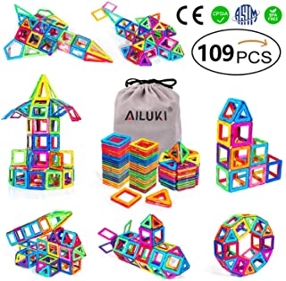 AILUKI Magnetische bouwstenen, 109 stuks, doe-het-zelf, creatieve 3D-magnetische bouwblokken, bouwblokken, huistoren, aut...