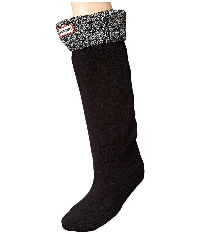 Hunter  6 Stitch Cable Boot Sock (Black/Grey) Womens Crew Cut Socks Shoes